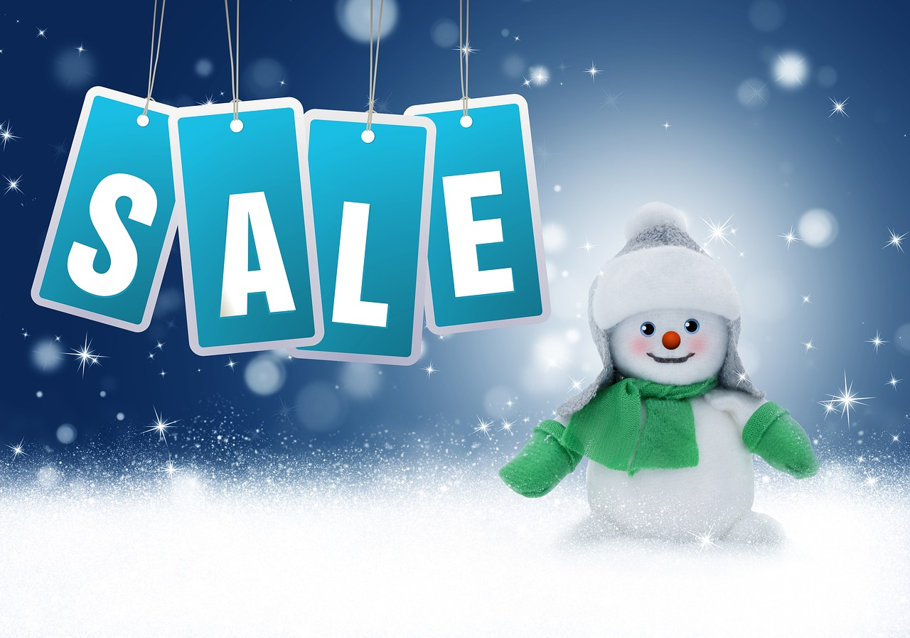 sale, snowman, new year discounts